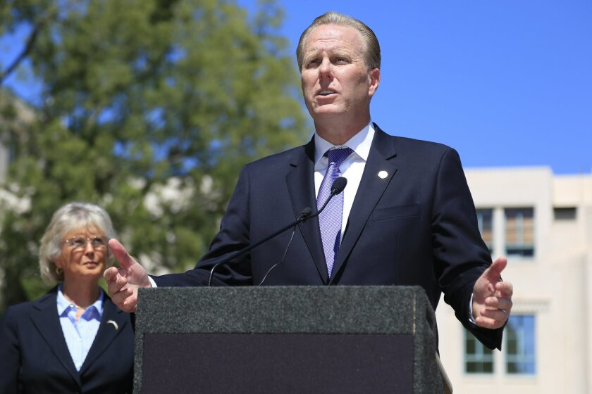 San Diego Mayor Kevin Faulconer announced joint efforts between the city and the county this spring to find a solution for the funding of a new NFL stadium.