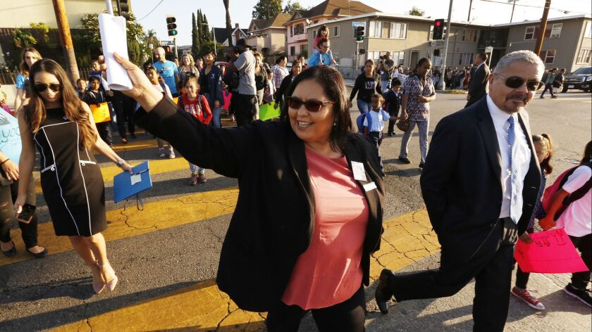 School board President Monica Garcia, pictured in 2017 at a walk-to-school event, said Monday that she will run for the Los Angeles City Council seat that will be vacated next year by Councilman Jose Huizar.