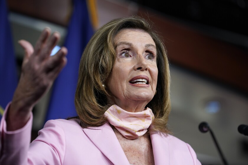 House Speaker Nancy Pelosi speaks at a news conference on the Saturday session called to halt U.S. Postal Service changes.