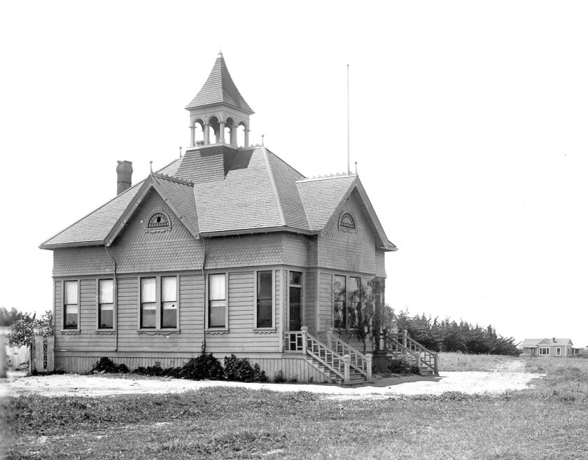 This photo of the Pacific Beach Schoolhouse was taken in 1904.