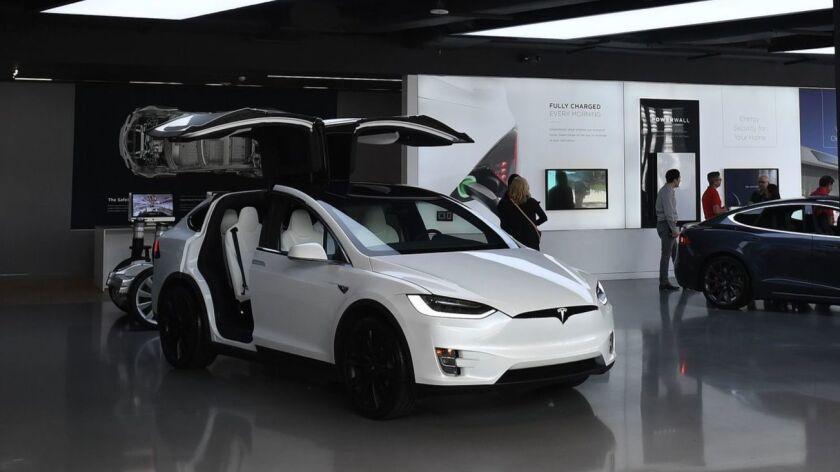 A Tesla showroom in Los Angeles.