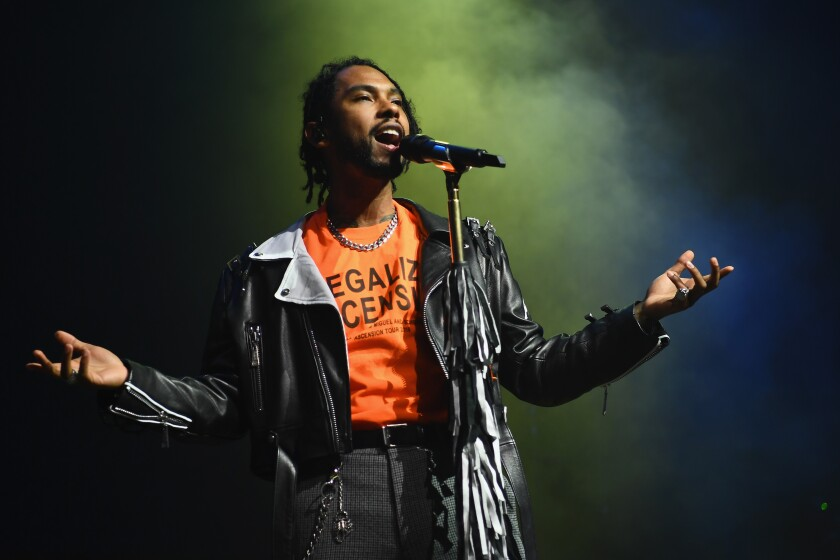 A photo of Miguel performs onstage during iHeartRadio LIVE and Verizon Bring You Miguel on October 4, 2018 in New York City