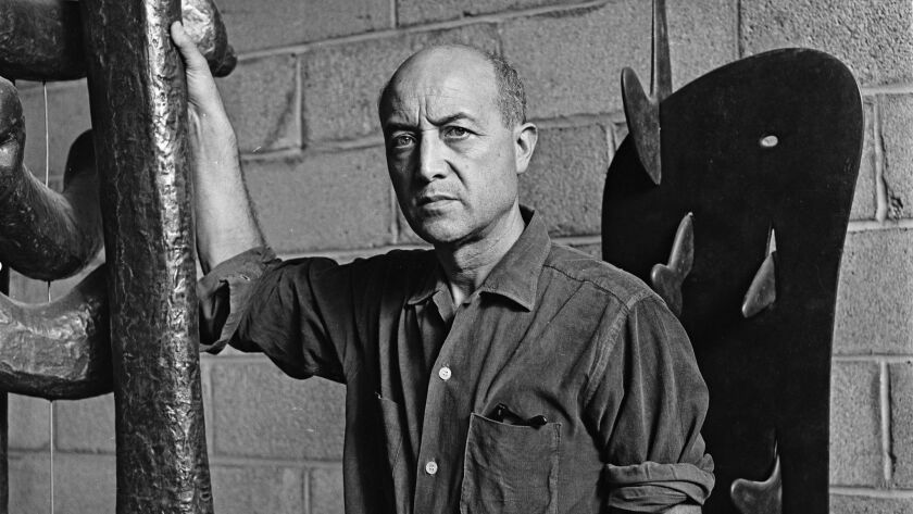 Sculptor Isamu Noguchi photographed in his Long Island, N.Y., studio in March 1966.