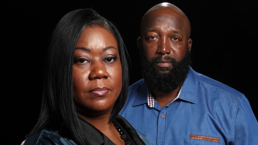 BEVERLY HILLS, CA-JULY 26,2018: Trayvon Martin's parents Tracy Martin and Sybrina Fulton are photog