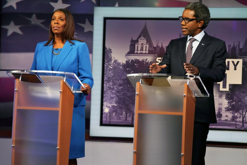 (L-R) Attorney general candidates Letitia James and Keith Wofford debate at NY 1 Studios in Manhattan on Tuesday.