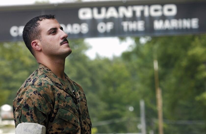 Marine Cpl. Wassef Ali Hassoun is shown outside Marine Corps Base Quantico, Va., in 2004.