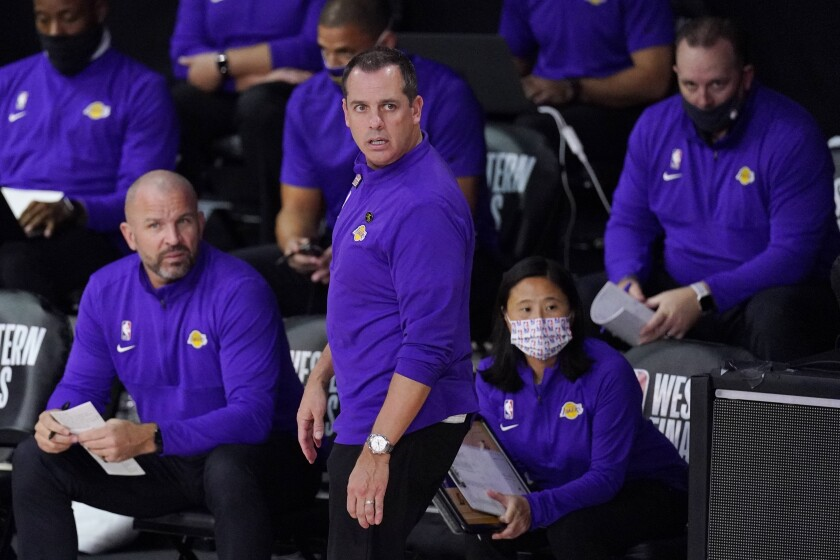 Lakers coach Frank Vogel on the sideline during the first half of Game 5.