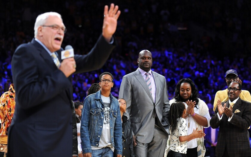 Phil Jackson speaks at the ceremony to retire Shaquille O'Neal's No. 34 jersey at Staples Center.