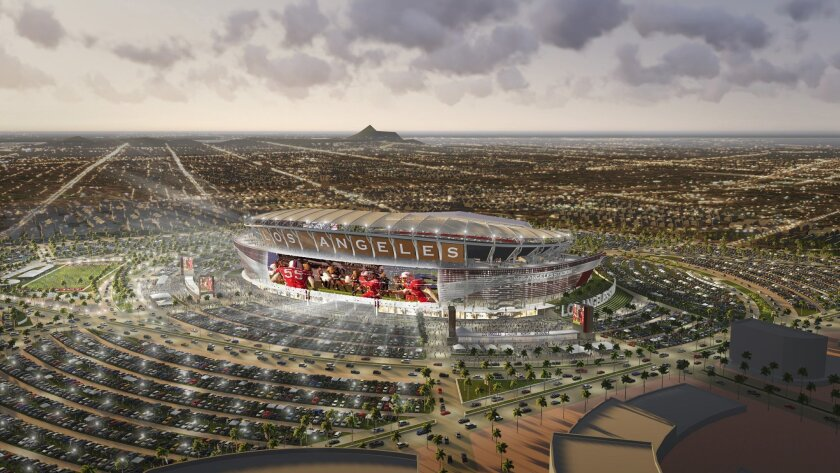 Artist's rendition of proposed shared Chargers/Raiders stadium in Carson.