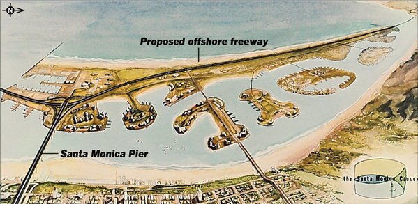 In the 1960s, planners in Santa Monica put forth a proposal for an offshore freeway straight across Santa Monica Bay.
