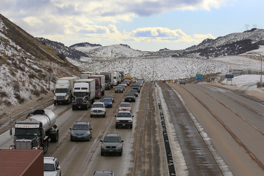 Snow covers the Grapevine near the Tejon Pass town of Gorman on Jan. 11, 2013. A system early next week could dust the pass with snow.