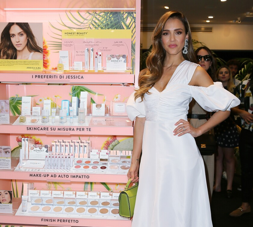 Jessica Alba attends an event for the presentation of the Honest Beauty line.
