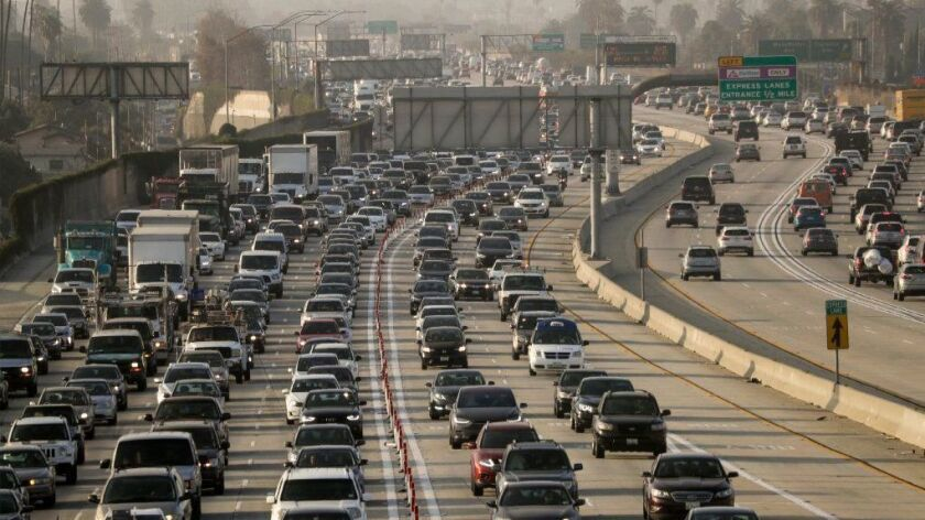 Traffic on the 110 Freeway in Los Angeles