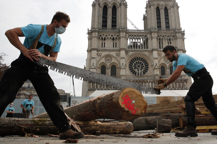 Carpenters put the skills of their medieval-era colleagues on show in front of Notre Dame Cathedral in Paris on Saturday.