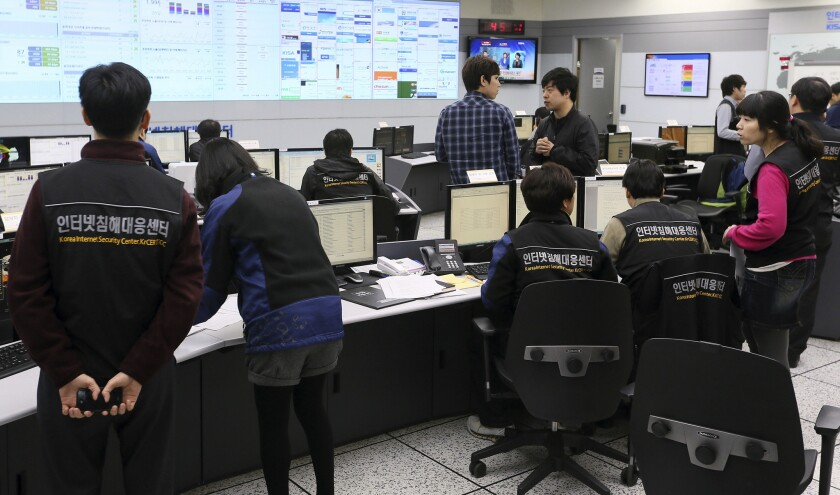 Employees of Korea Internet Security Center work after computer networks at two major South Korean banks and three top TV broadcasters were hacked in 2013. Speculation centered on North Korea, with experts saying a cyberattack orchestrated by Pyongyang was probably to blame.