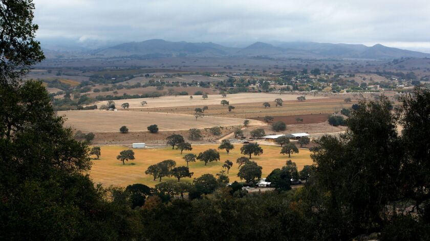 SANTA YNEZ, CA-NOVEMBER 21, 2013: Overall, shows the 11,500 acres of land in the Santa Ynez Valley