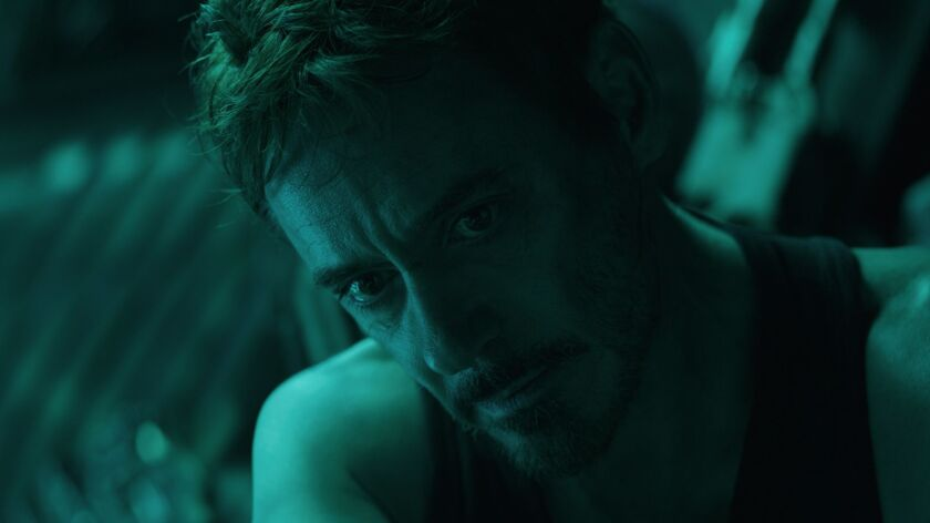 "Robert Downey Jr. in the movie ""Avengers: Endgame."""