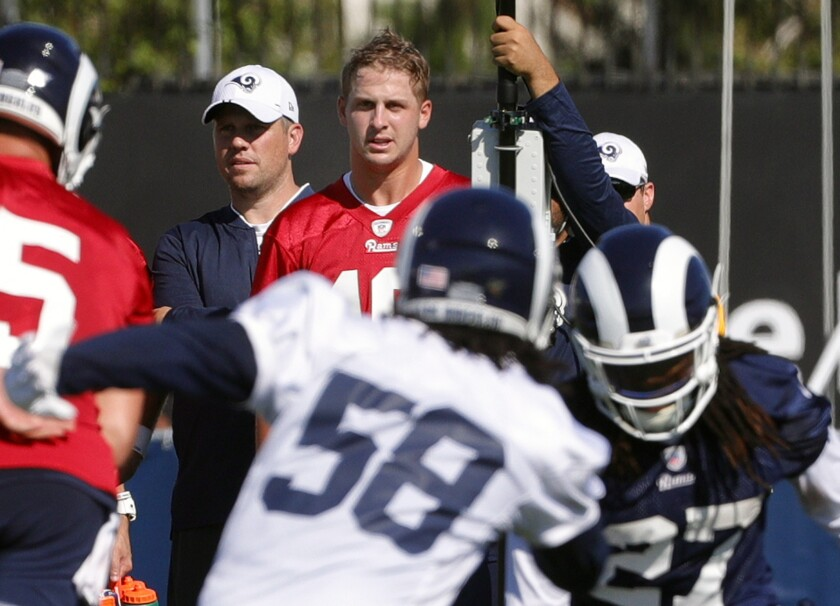 Rams quarterback Jared Goff watches his teammates during the first day of Rams training camp on July 27.