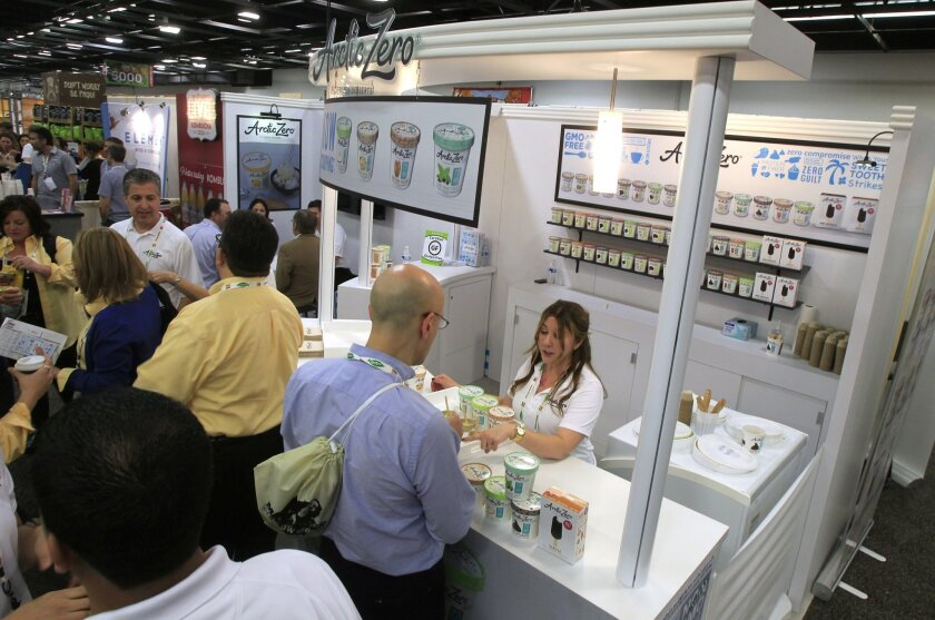This is the booth for San Diego based frozen dessert company Arctic Zero at the Natural Products Expo West at the Anaheim Convention Center on Friday in Anaheim, California.