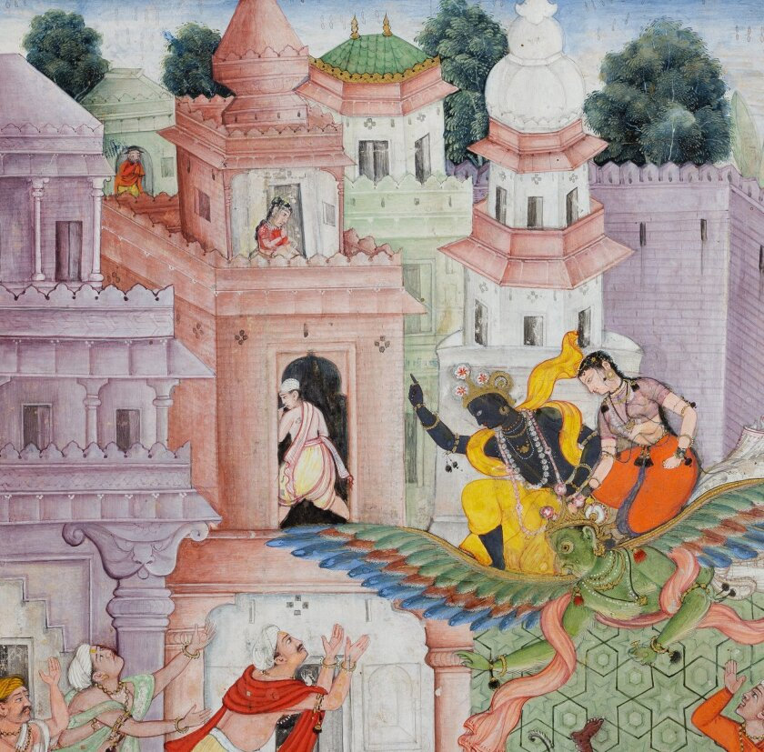 """Detail from """"Krishna Cleaves the Demon Narakasura with his Discus,"""" from a Harivamsha (Genealogy of Krishna). India, ca. 1585–90. Opaque watercolor and gold on paper, mounted as an album page. 30.1 x 18.1 cm. The San Diego Museum of Art, Edwin Binney 3rd Collection, 1990.286"""