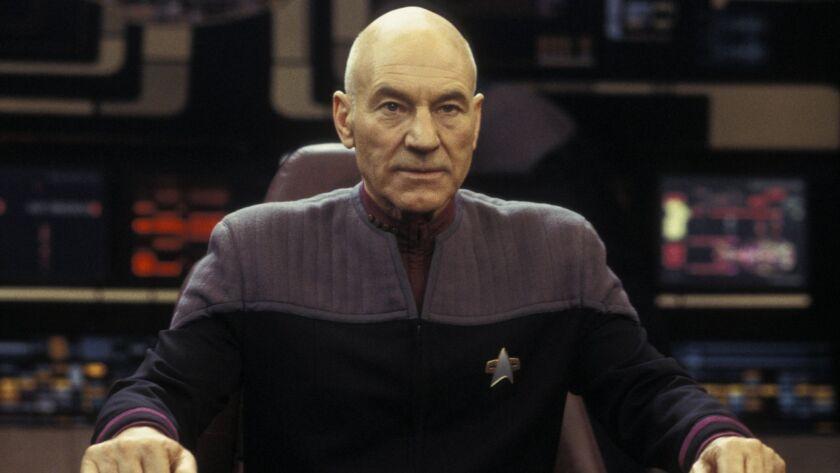 "Patrick Stewart as Captain Jean-Luc Picard in the 2002 movie ""Star Trek Nemesis."""