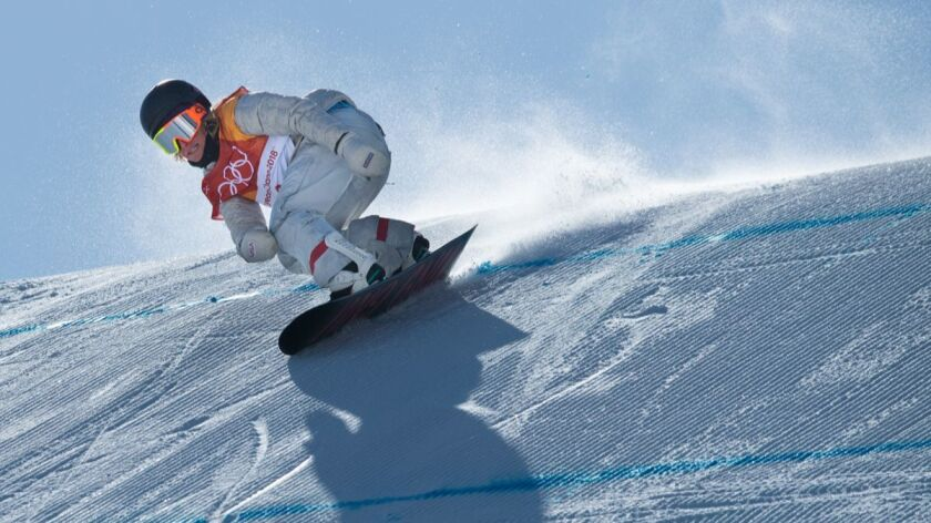 Jamie Anderson on her gold-medal winning run in the women's snowboard slopestyle finals at Phoenix Snow Park during the Pyeongchang Winter Olympic Games on Feb. 12.