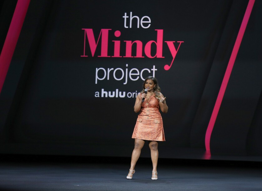 """During Hulu's presentation Wednesday in New York City, actress Mindy Kaling announces that her sitcom, """"The Mindy Project,"""" would be returning for a fifth season. The series moved to Hulu last year after three seasons on Fox."""