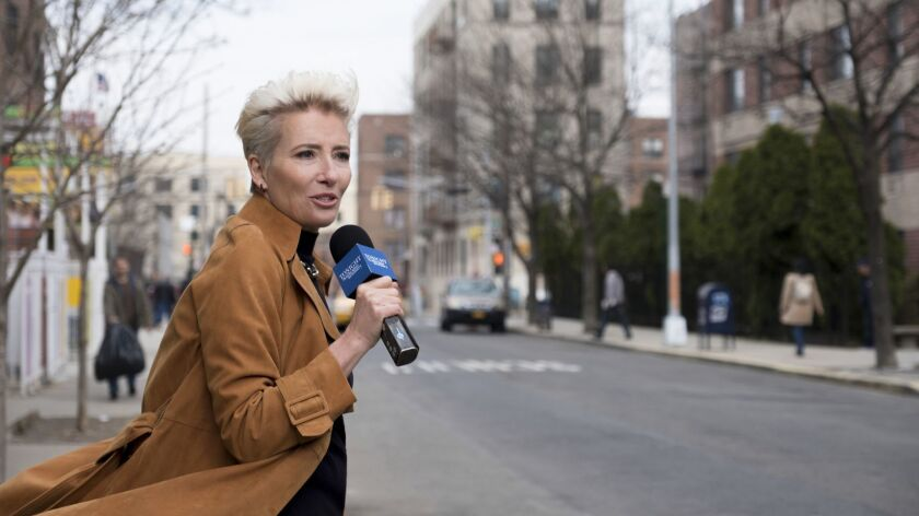 """This image released by Amazon Studios shows Emma Thompson in a scene from """"Late Night."""" (Emily Arago"""