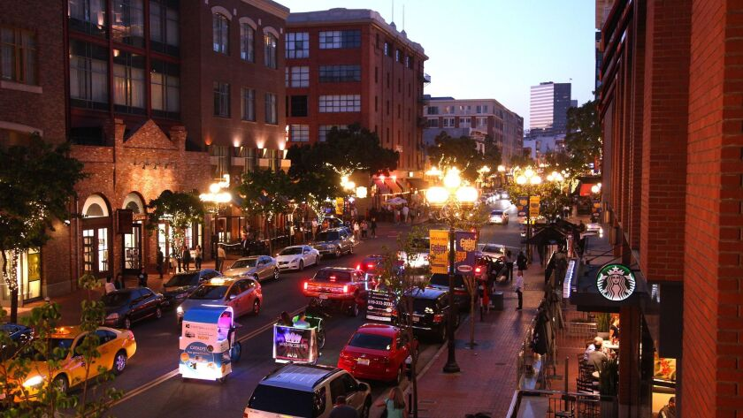 Gaslamp Quarter, looking north of Fifth Avenue.