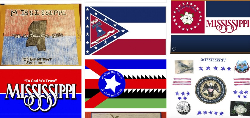 "Magnolias, stars, a Gulf Coast lighthouse, a teddy bear, and even Kermit the Frog appear on some of the over 1,800 proposals submitted by the general public for a new Mississippi flag and posted Monday, Aug. 3, 2020, on the Mississippi Department of Archives and History web site. The state recently retired the last state banner with the Confederate battle emblem that's widely condemned as racist and a nine-member commission will design a replacement that cannot include the Confederate symbol and must have the phrase, ""In God We Trust."" (Mississippi Department of Archives and History, via AP)"