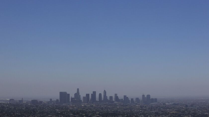 LOS ANGELES-CA-JULY 1, 2019: The downtown Los Angeles skyline is seen from Griffith Observatory on M