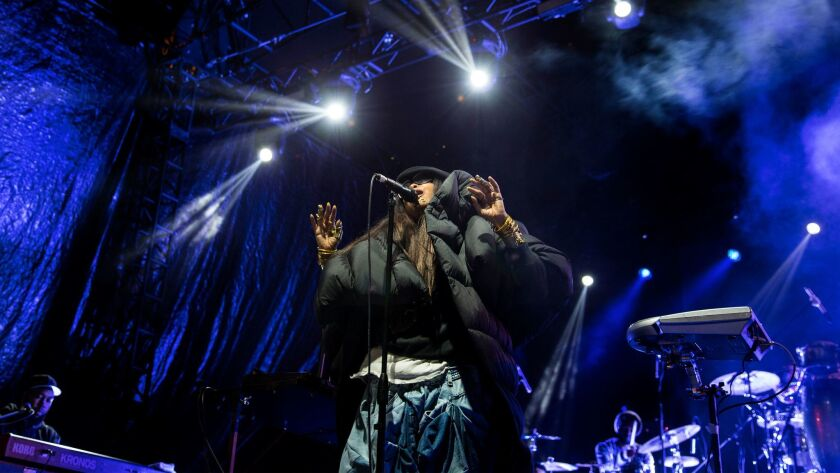 Erykah Badu performs during the inaugural Soulquarius festival at the Observatory grounds Saturday in Santa Ana.