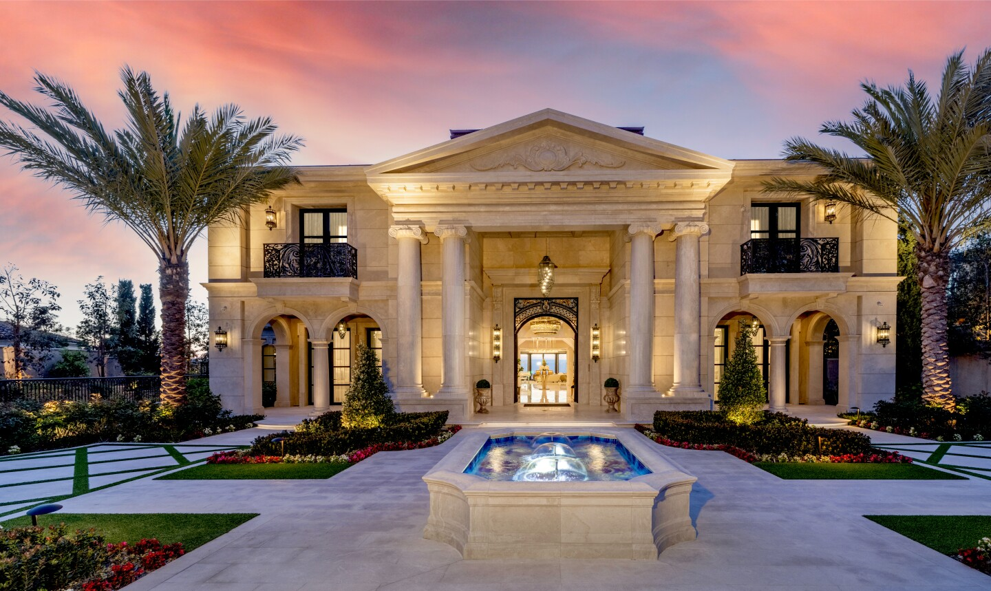 Built in 2021, the 15,500-square-foot palace features ostentatious amenities and hardware coated in 24-karat gold.