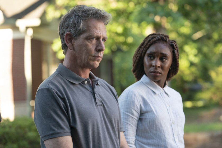 "Ben Mendelsohn and Cynthia Erivo in HBO's ""The Outsider."""