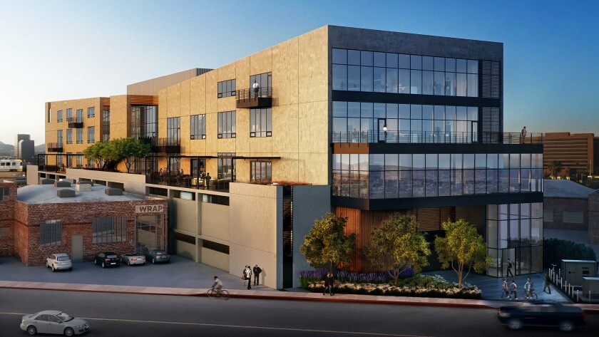 The Lawrence J. Ellison Institute for Transformative Medicine of USC has agreed to lease and buy this West L.A. office building, shown in rendering, that is under construction at 12414 Exposition Blvd.