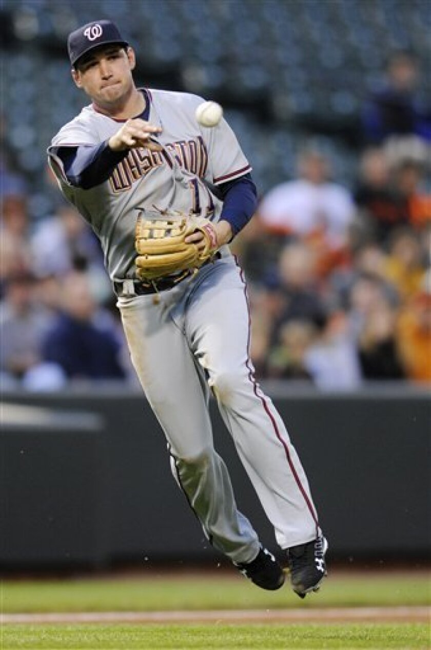Washington Nationals third baseman Ryan Zimmerman throws out Baltimore Orioles' Melvin Mora at second during the first inning of an interleague baseball game, Friday, May 16, 2008, in Baltimore.(AP Photo/Nick Wass)