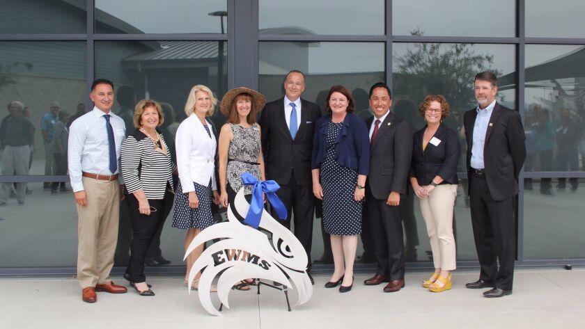 Earl Warren Principal Reno Mendina, SDUHSD board members Joyce Dalessandro, Amy Herman and Beth Herg