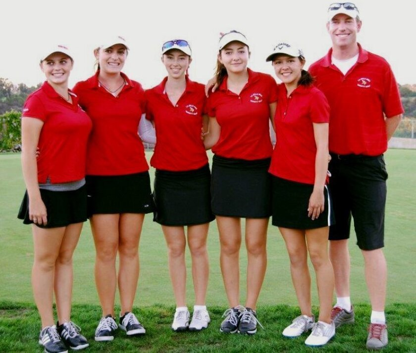 La Jolla High School Girls Golf team headed to CIF 2014 finals in the No. 1 spot in the Western League. Finishing with a league record of 12-1-0 and an overall record of 12-7-0. From left: Gabi Anastasi, Daniela Anastasi, Madeleine Garay, Rebecca Ryan, Waverly Whiston and Coach Aaron Quesnell