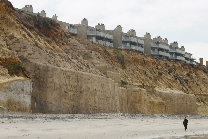Seawalls protect homes near Fletcher Cove in Solana Beach.