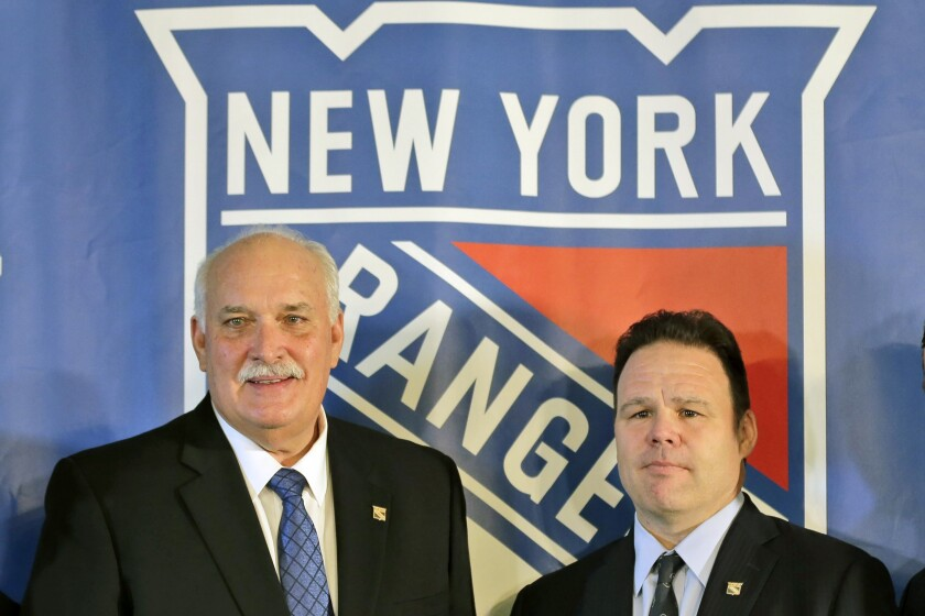 FILE - John Davidson, left, president of the New York Rangers, and Rangers general manager Jeff Gorton pose at a news conference in New York, in this Wednesday, May 22, 2019, file photo. The New York Rangers fired president John Davidson and general manager Jeff Gorton on Wednesday, May 5, 2021 according to multiple published reports. The New York Post and Sportsnet reported Davidson and Gorton had been fired with three games left in the season and replaced by associate general manager and former Rangers captain Chris Drury.(AP Photo/Seth Wenig, File)
