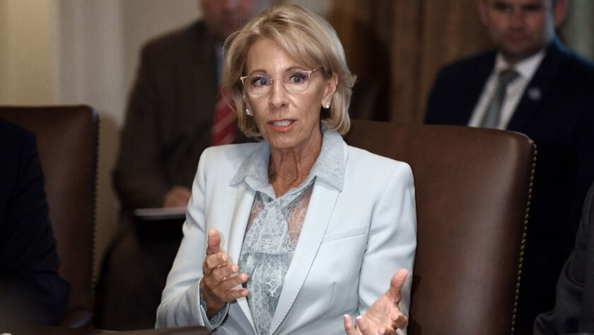 Secretary of Education Betsy DeVos speaks during a Cabinet meeting in the Cabinet Room of the White House on July 18.