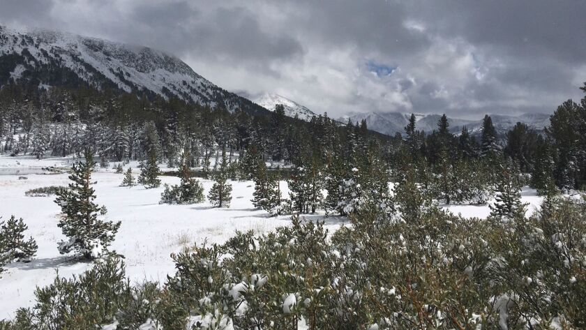 Yosemite National Park on Wednesday closed roads to the backcountry because of wintry conditions. Snow fell near Tioga Pass in late September.