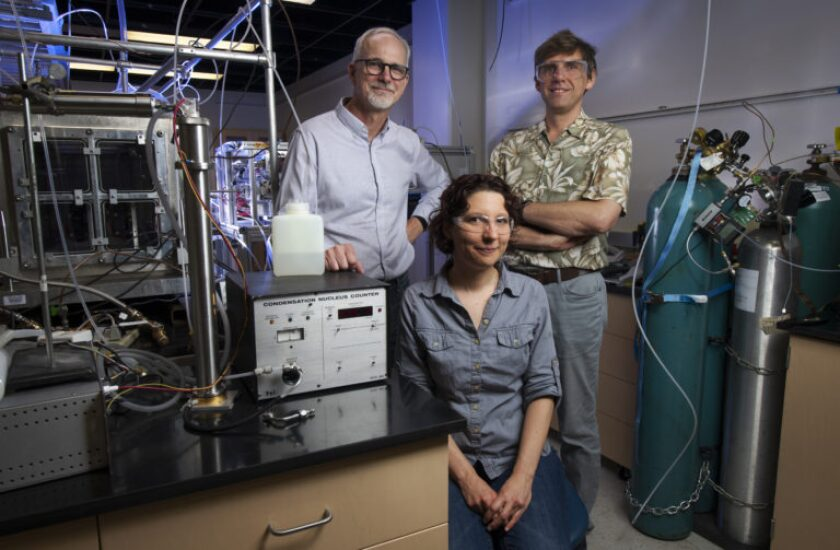 UC Irvine chemists James Smith, Veronique Perraud and Sergey Nizkorodov pose for a photo. The scientists analyzed emissions during a typical hookah smoking session to characterize