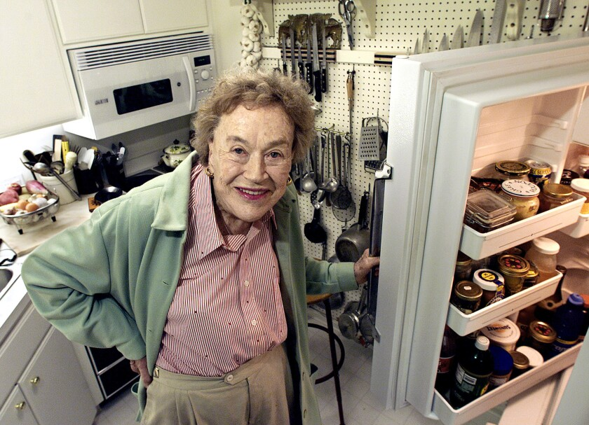 """Julia Child moved into her """"nice little pad"""" in Montecito in 2001. Her kitchen was about the size of a boat galley and could seat only six."""