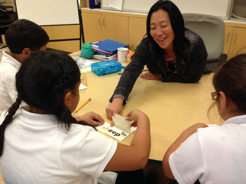 Special education teacher Julia Kim now teaches at George Moscone Elementary School. Last year, she administered the state's new standardized tests at a different school in San Francisco, Fairmount Elementary.