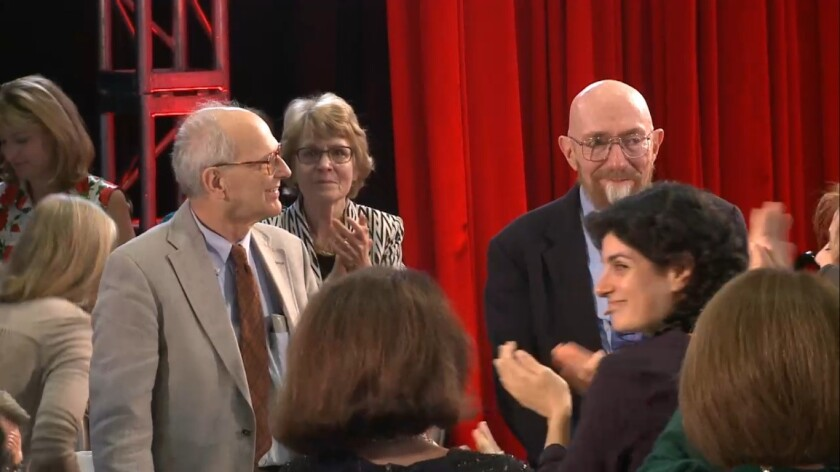 Rainer Weiss, left, and Kip Thorne, two of the scientists behind the LIGO gravitational wave discovery, are among the Kavli Prize winners announced Thursday. The pair were applauded at the World Science Festival in New York.