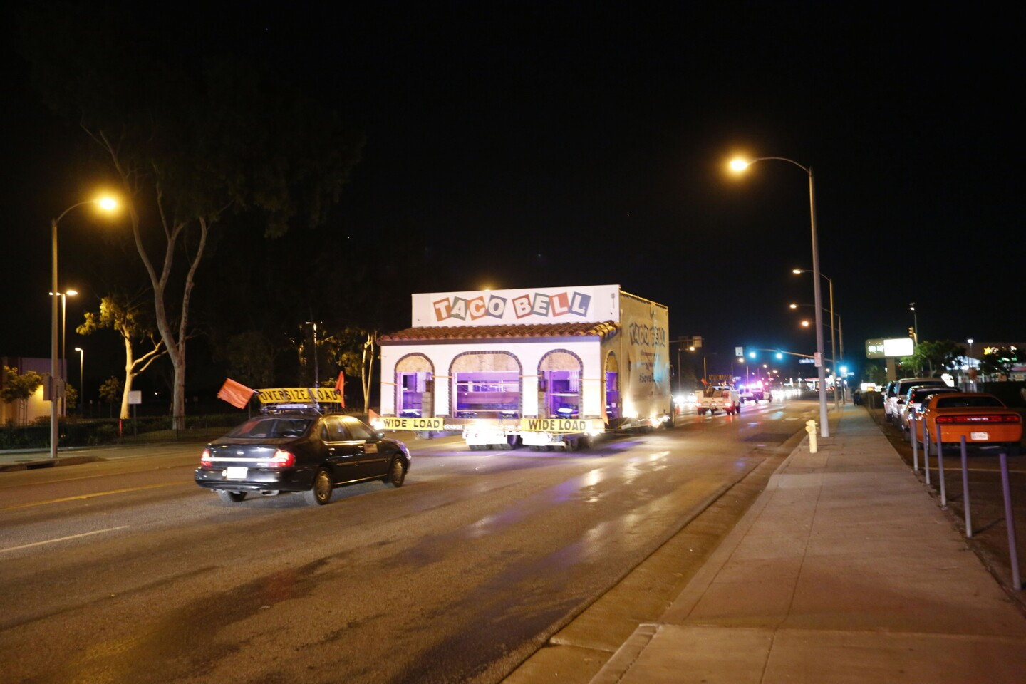 The original Taco Bell restaurant, located in Downey, was moved via a truck to the company's headquarters in Irvine.