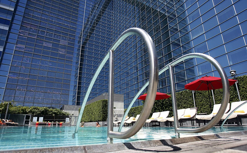 Pool deck of the JW Marriott and Ritz-Carlton Hotels in Los Angeles.