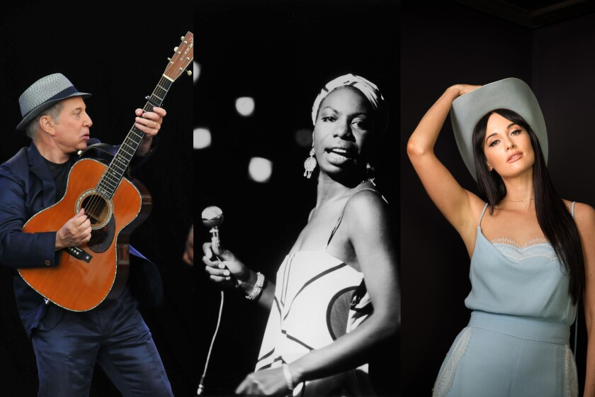 "(L-R)- Photographs of Paul Simon, Nina Simone, Kacey Musgraves, and Sly Stone in a quadriptych to illustrate ""38 life-affirming albums to get you though self-quarantine."" Credit (L-R): Jim Dyson/Getty Images; Getty Images; Michael Nagle/For The Times; Mel Melcon / Los Angeles Times"