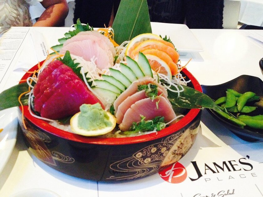 A sashimi sampler from James' Place, adjacent to La Jolla Playhouse  Courtesy